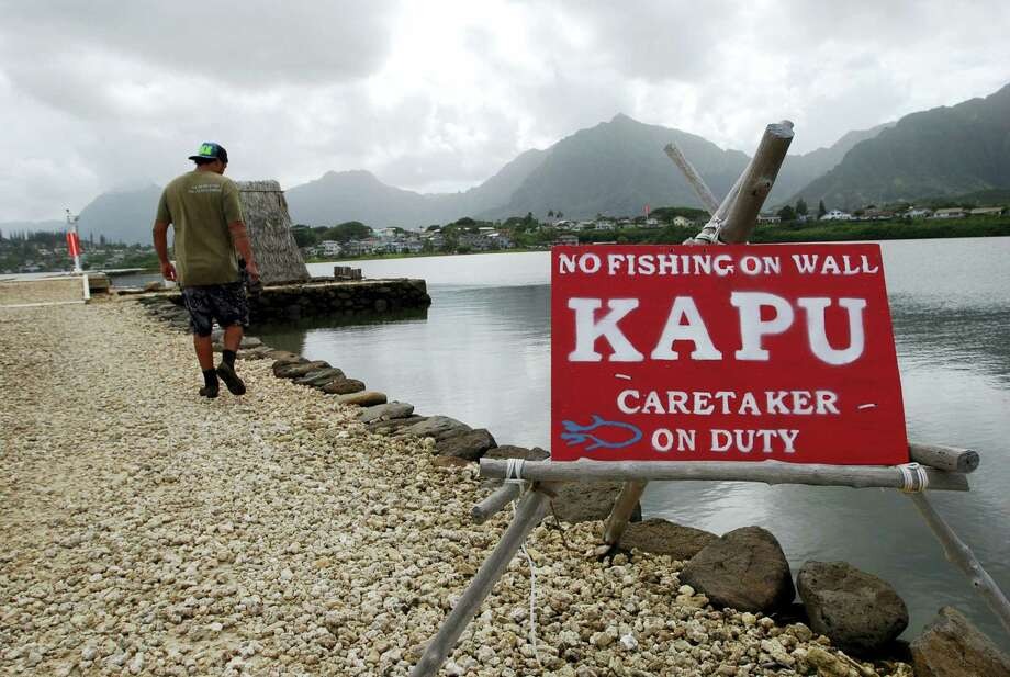 In this Friday, Dec. 2, 2016 photo, Conservation International's Luka Mossman, who restores and researches Native Hawaiian fishponds, walks along a barrier wall on Heeia fishpond in Kaneohe, Hawaii. As traditional commercial fishing is threatening fish populations worldwide, U.S. officials are working on a plan to expand fish farming into federal waters around the Pacific Ocean. Some see the move toward aquaculture as a promising solution to overfishing and feeding a hungry planet. But critics say the industrial scale farms could do more harm than good to overall fish stocks and ocean health. (AP Photo/Caleb Jones) Photo: AP / Copyright 2016 The Associated Press. All rights reserved.