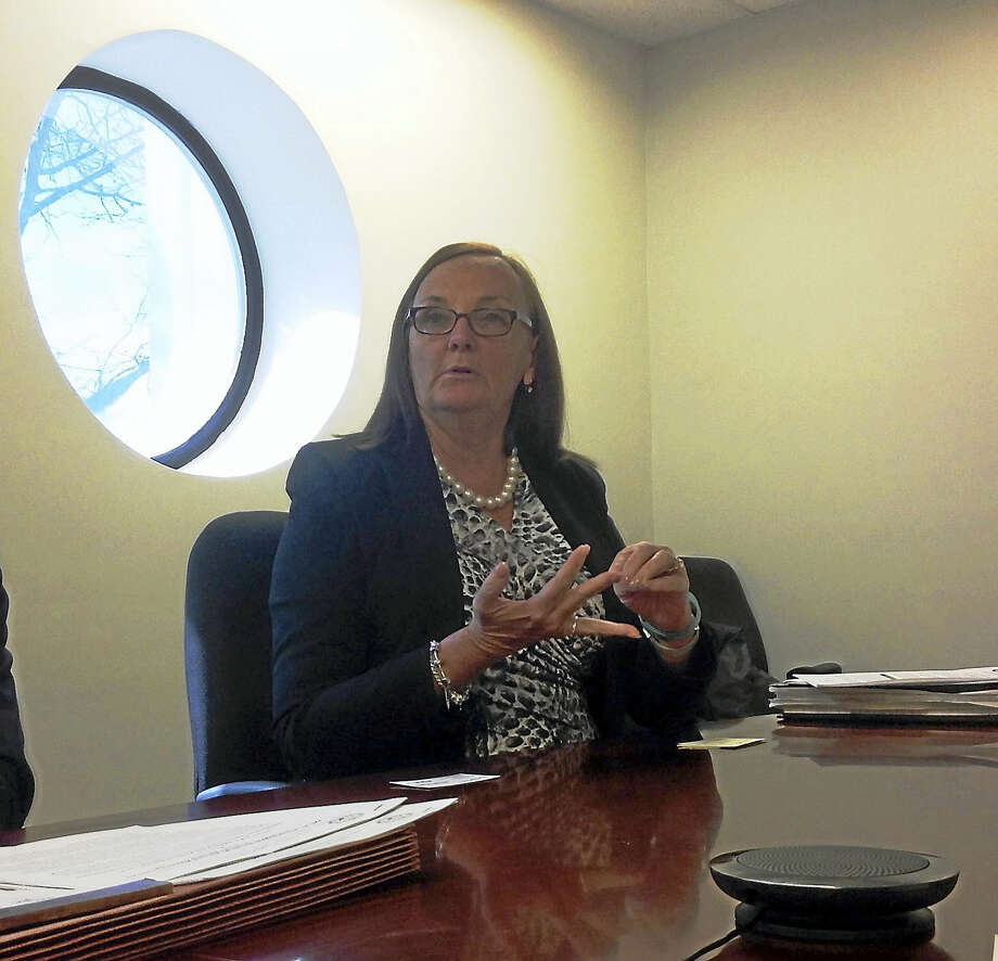Carol Carson, executive director of the Connecticut Office of State Ethics, makes a point while speaking to the Register Editorial Board Photo: Journal Register Co.