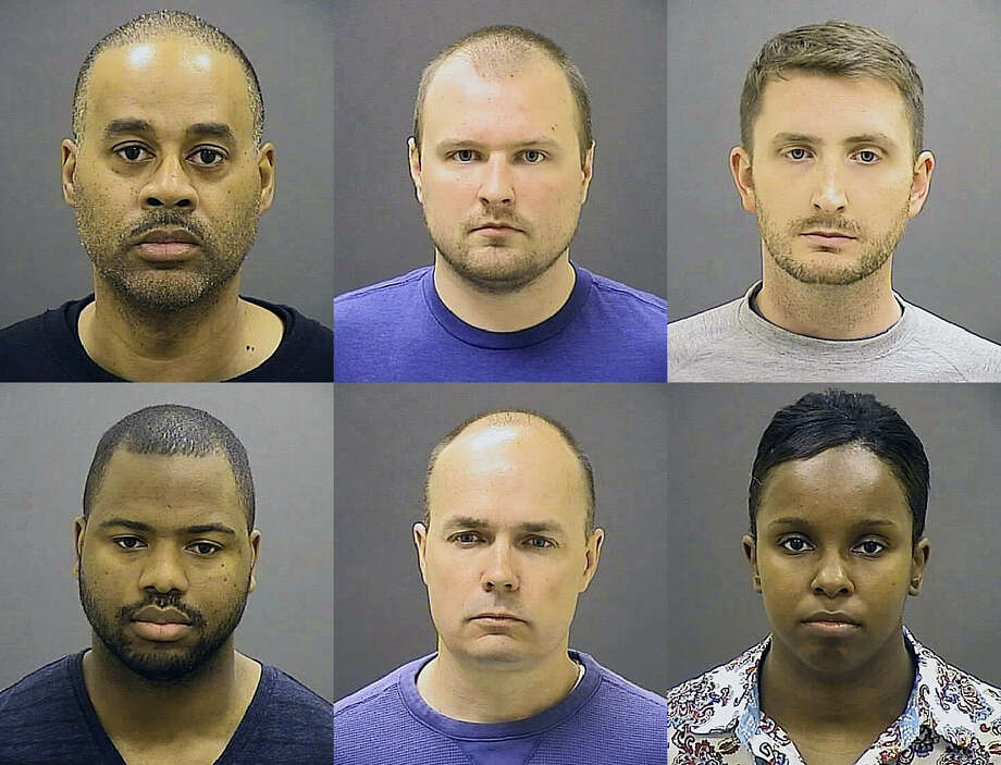 FILE - These undated file photos provided by the Baltimore Police Department show Baltimore police officers, top row from left, Caesar R. Goodson Jr., Garrett E. Miller and Edward M. Nero, and bottom row from left, William G. Porter, Brian W. Rice and Alicia D. White, charged with felonies ranging from assault to murder in the police-custody death of Freddie Gray. While the officers still face charges in Gray's death, not one has been resolved. The first case ended in mistrial and has delayed the remaining trials. (Baltimore Police Department via AP, File) Photo: AP / Baltimore Police Department