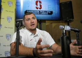 Stanford defensive lineman Harrison Phillips speaks at the Pac-12 NCAA college football media day, Thursday, July 27, 2017, in the Hollywood section of Los Angeles. (AP Photo/Mark J. Terrill)