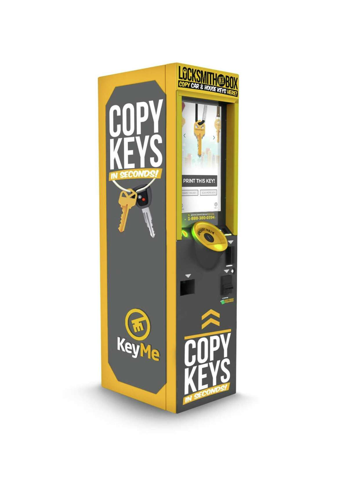 This photo provided by KeyMe shows a kiosk the company has rolled out across the country that allows keyless lock users digital copies of their keys and to store them in the cloud. The self-service kiosks, some located in 7-Eleven and Right Aid Stores, create spare copies of keys in roughly 30 seconds. (KeyMe via AP)