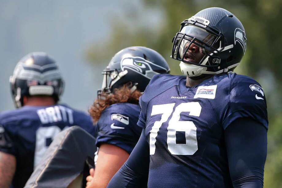 Germain Ifedi warms up before a scrimmage during Seahawks training camp, Monday, Aug. 7, 2017. Photo: GENNA MARTIN, SEATTLEPI.COM / SEATTLEPI.COM