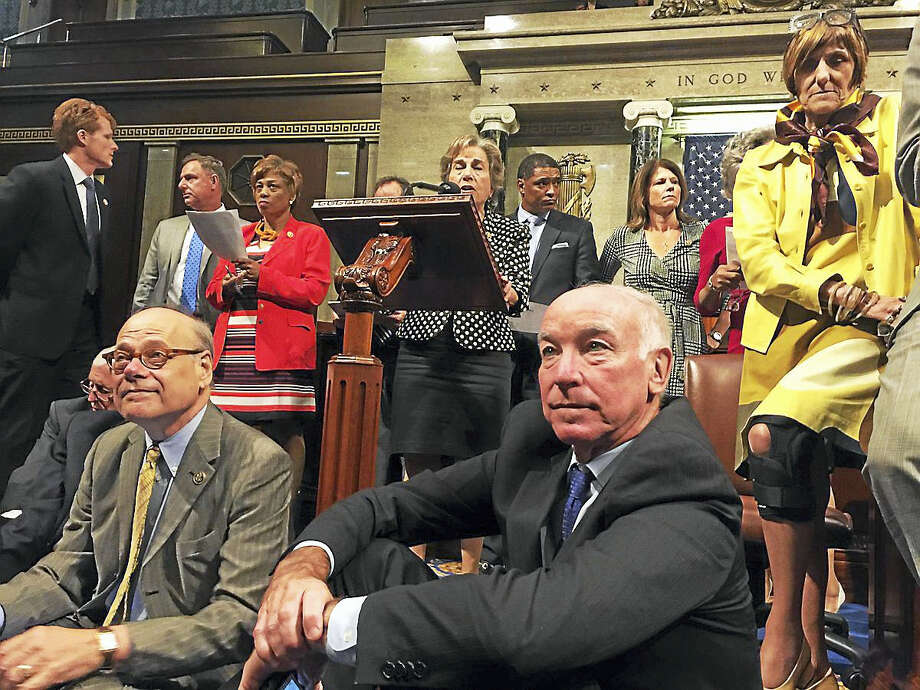 Photo courtesy of the Office of Rep. Rosa DeLauro Dozens of Democrats, including Connecticut entire House delegation staged a sit-in Wednesday on the floor of the U.S. House of Representatives, demanding a vote on gun control legislation. Photo: Journal Register Co.