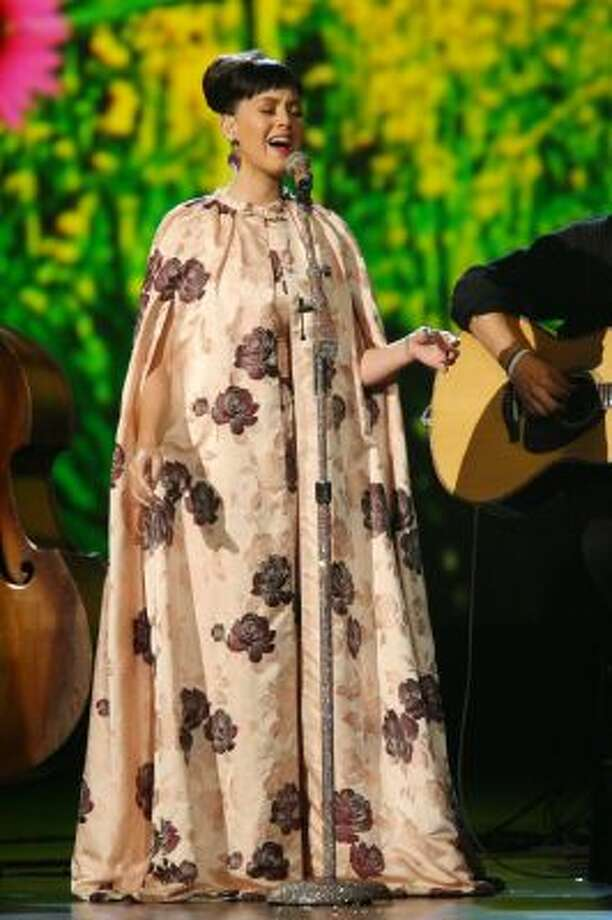 Katy Perry performs at the night that changed America: a Grammy salute to the Beatles, on Monday, Jan. 27, 2014, in Los Angeles.