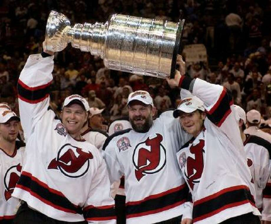 Martin Brodeur celebrates winning the Stanley Cup in 2003.