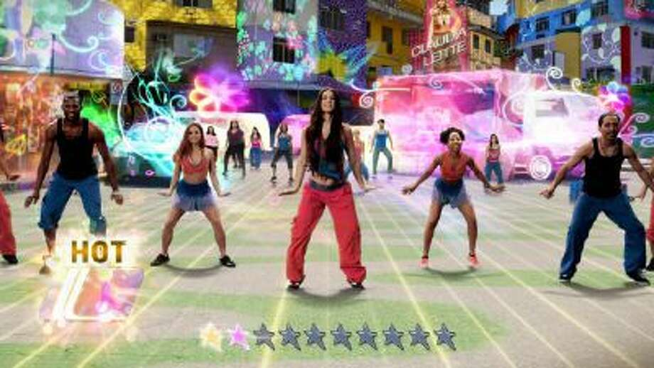 """This photo shows a scene from the video game, """"Zumba Fitness: World Party"""". The latest entry in the hip-shaking empire's interactive catalog goes global with a diverse lineup of Zumba routines led by real-world instructors in colorful renditions of such locales as Puerto Rico, Los Angeles, India and Hawaii, all with accompanying tunes."""