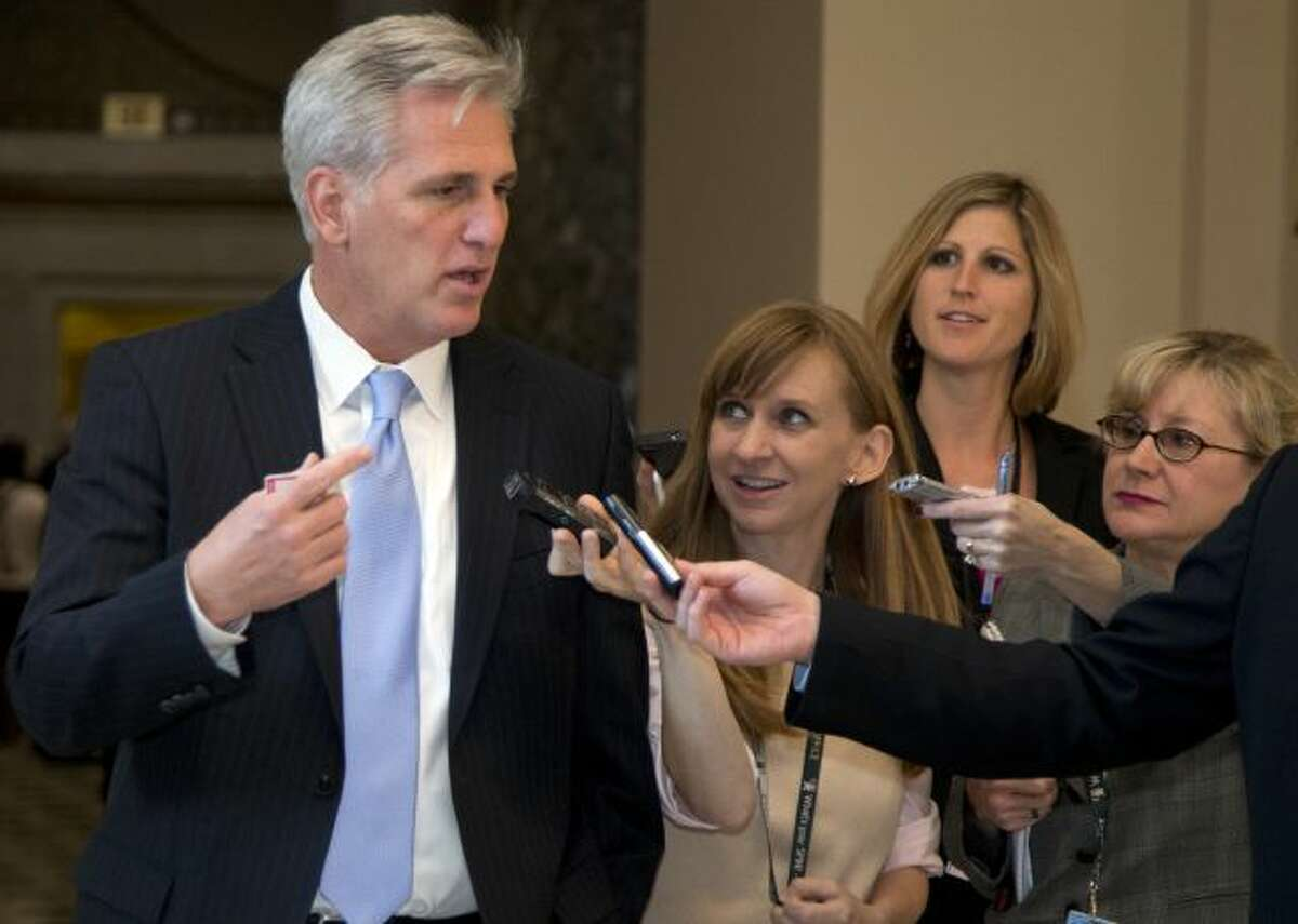 House Majority Whip Kevin McCarthy, R-Calif., walks to vote on the House floor on Capitol Hill, Thursday, Sept. 19, 2013 in Washington. House Republican leaders scrambled Thursday to line up support in advance of a late-afternoon vote on legislation that would cut nearly $4 billion a year from the food stamp program, now used by 1 in 7 Americans. (AP Photo/Carolyn Kaster)