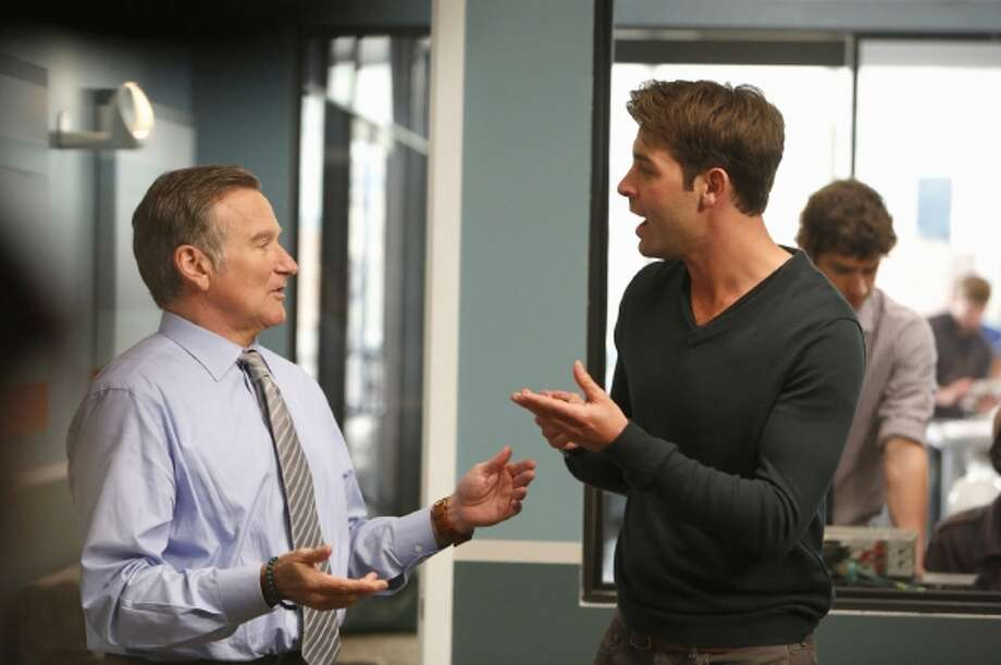 Robin Williams, left, and James Wolk are shown on Williams? new show, ?The Crazy Ones,? which debuts on Sept. 26, the same night as Michael J. Fox's new show, ?The Michael J. Fox Show.? But too much has changed with television to make this a showdown between two ?80s heavies. Illustrates TV-OLDSTARS-ADV14 (category e), by Hank Stuever, (c) 2013 The Washington Post. Moved Thursday Sept. 12, 2013. (MUST CREDIT: Cliff Lipson/CBS) Photo: The Washington Post / THE WASHINGTON POST