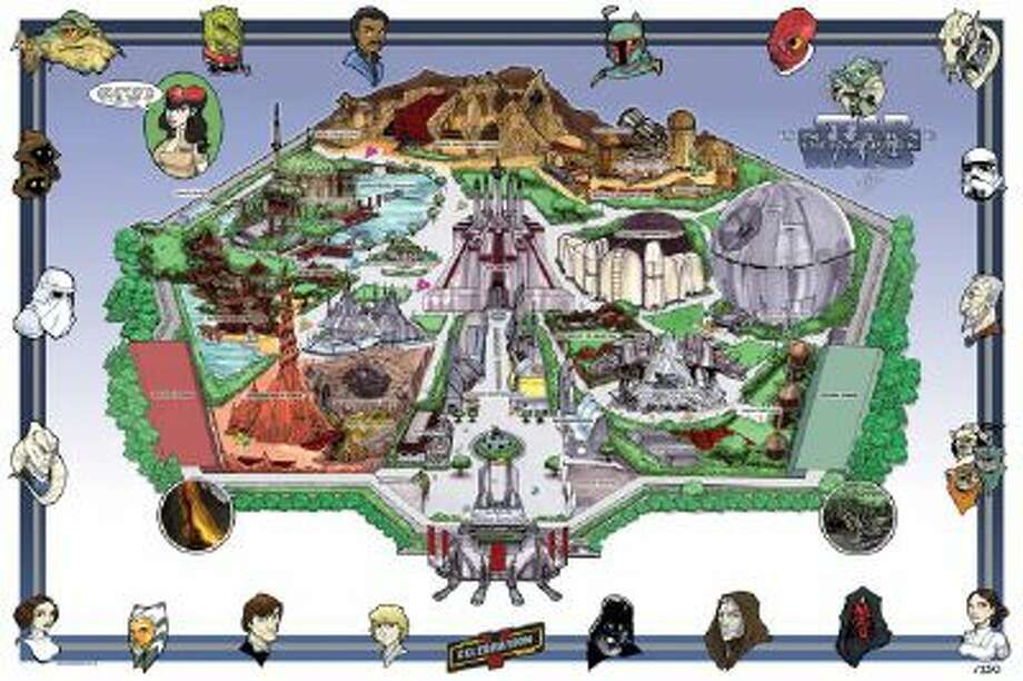"""Artist Tom Hodges created """"Star Wars Universe Dream Park"""" in 2010 as a limited edition print for Star Wars Celebration V fan convention in Orlando. Now that Disney owns the rights to the Star Wars franchise, speculation has been at a fever pitch for a Star Wars theme park to be built at Disneyland in California and Walt Disney World in Orlando."""
