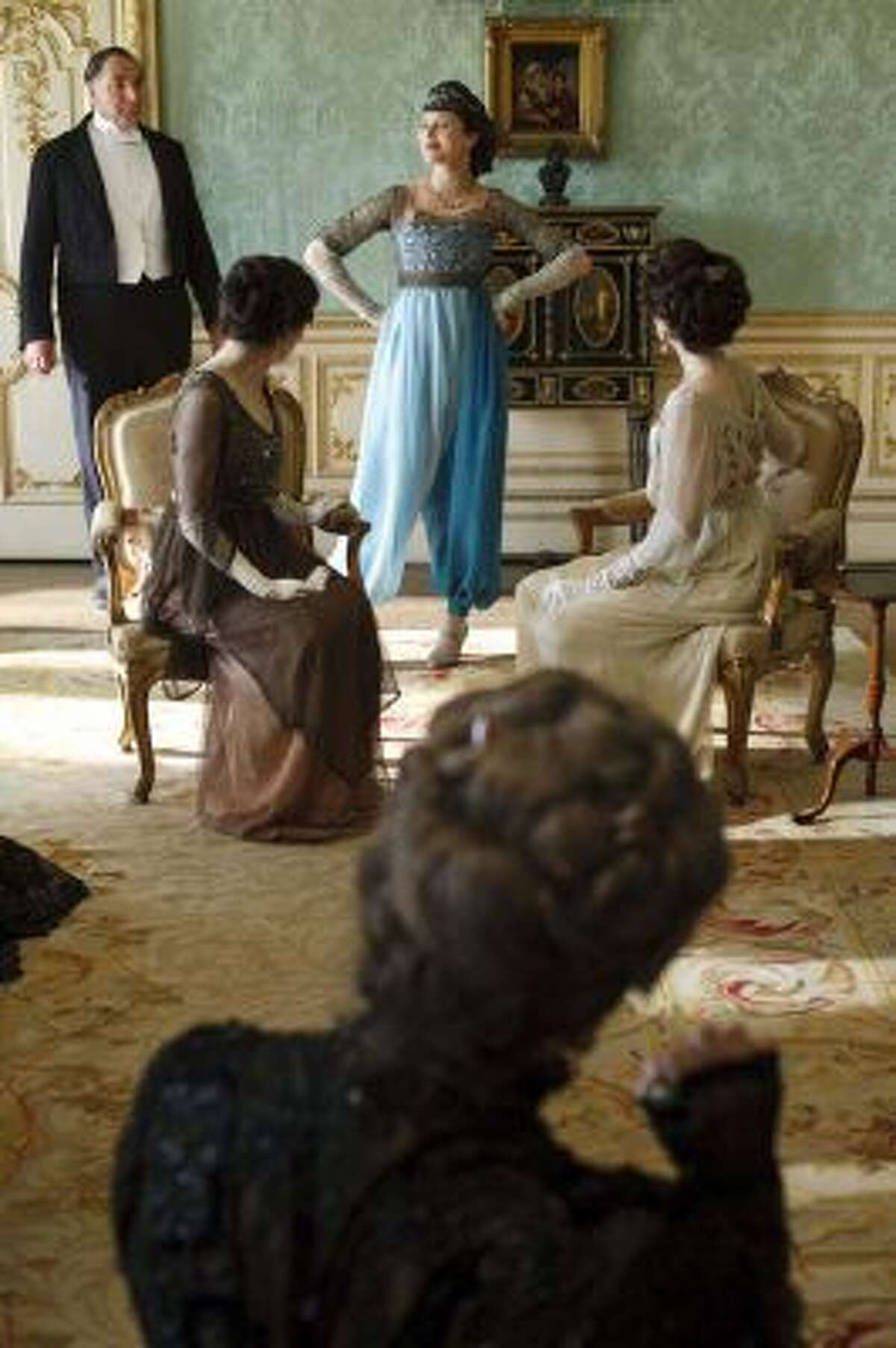 Shocking evening harem pants for the character of Lady Sybil Crawley, played by Jessica Brown Findlay. Illustrates DESIGN-DOWNTON (category e), by Kristin Hohenadel (c) 2014, Slate. Moved Wednesday, Feb. 19, 2014. (MUST CREDIT: Courtesy of Nick Briggs, Carnival Film and Television Limited.)