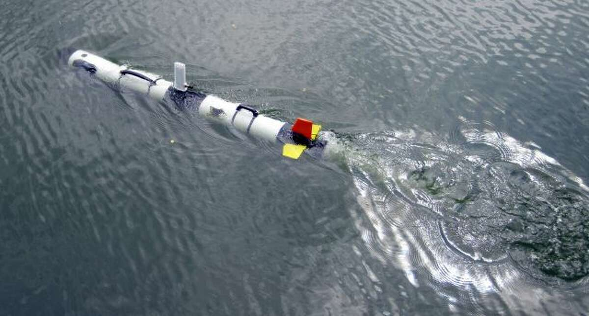 This undated photo proved by Michigan Technological University shows an Iver 3 Autonomous Underwater Vehicle purchased by Enbridge Energy Partners for Michigan Technological University in Houghton, Mich. Michigan Tech's Great Lakes Research Center will use the device to conduct sonar inspections of Enbridge oil pipelines beneath the Straits of Mackinac. Some consider the pipes, laid in 1953, a symbol of the dangers lurking in the nation's sprawling web of buried oil and natural gas...