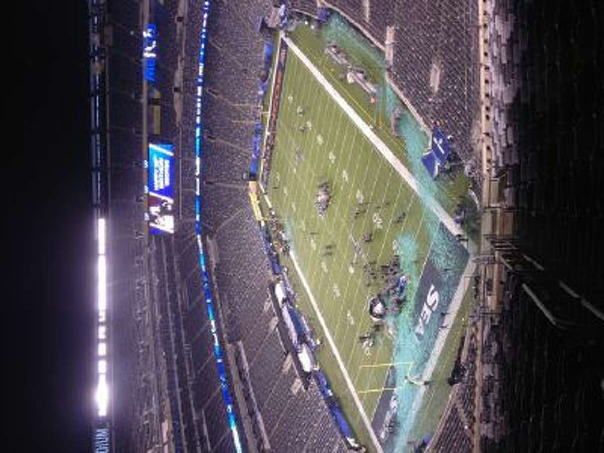 """The view from section 345, row 26, seat 38, Tom Gish's """"worst seat"""" at Super Bowl XLVIII."""