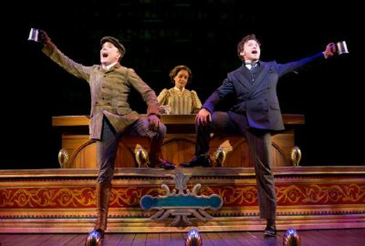 This image released by the The O+M Co. shows, from left, Jefferson Mays as Henry D'Ysquith, Jennifer Smith, and Bryce Pinkham as Monty Navarro in a scene from