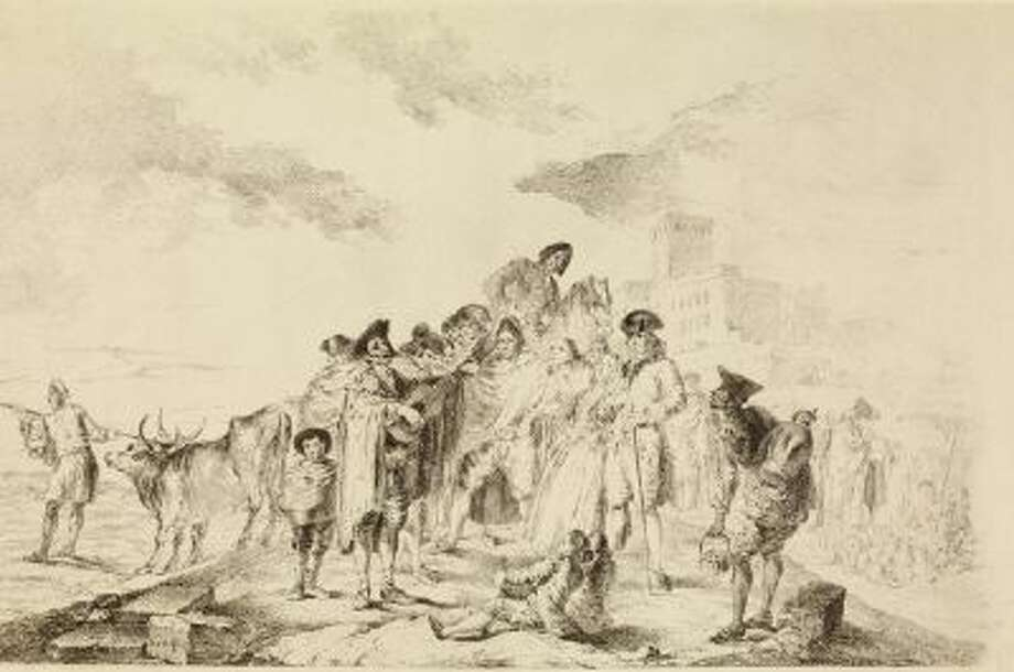 "This image provided by the New Mexico Museum of Art shows Francisco de Goya's drawing ""The blind guitarist,"" 1788."