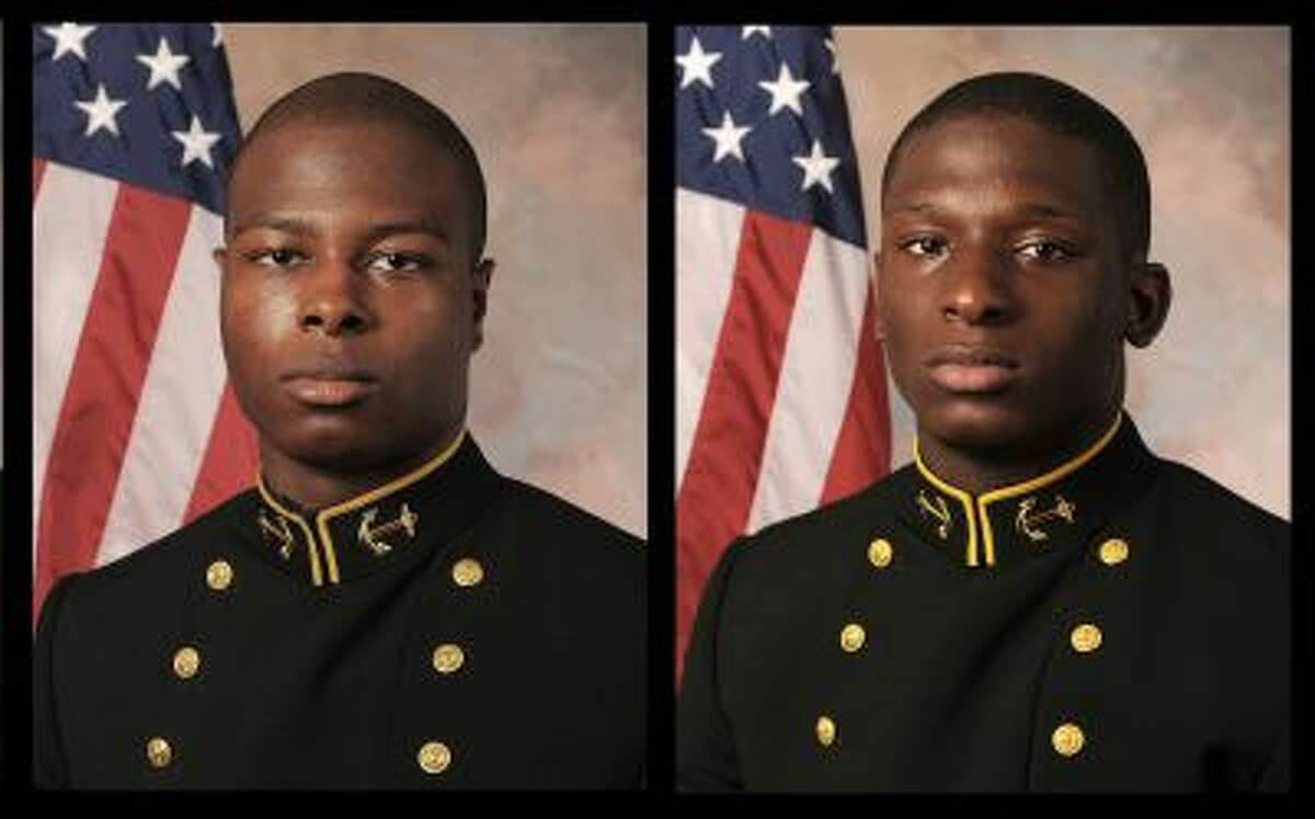 July, 24, 2013 file photos provided by the U.S. Navy Football team, shows Midshipman Eric Graham,left, and Midshipman Josh Tate. Two midshipman will face a court-martial in an alleged sexual assault at an off-campus party while a third will not, the U.S. Naval Academy superintendent said Thursday. All three midshipmen were former Navy football players. Vice Adm. Michael Miller referred the cases of Midshipmen Graham, of Eight Mile, Ala., and Tate, of Nashville, Tenn., to...