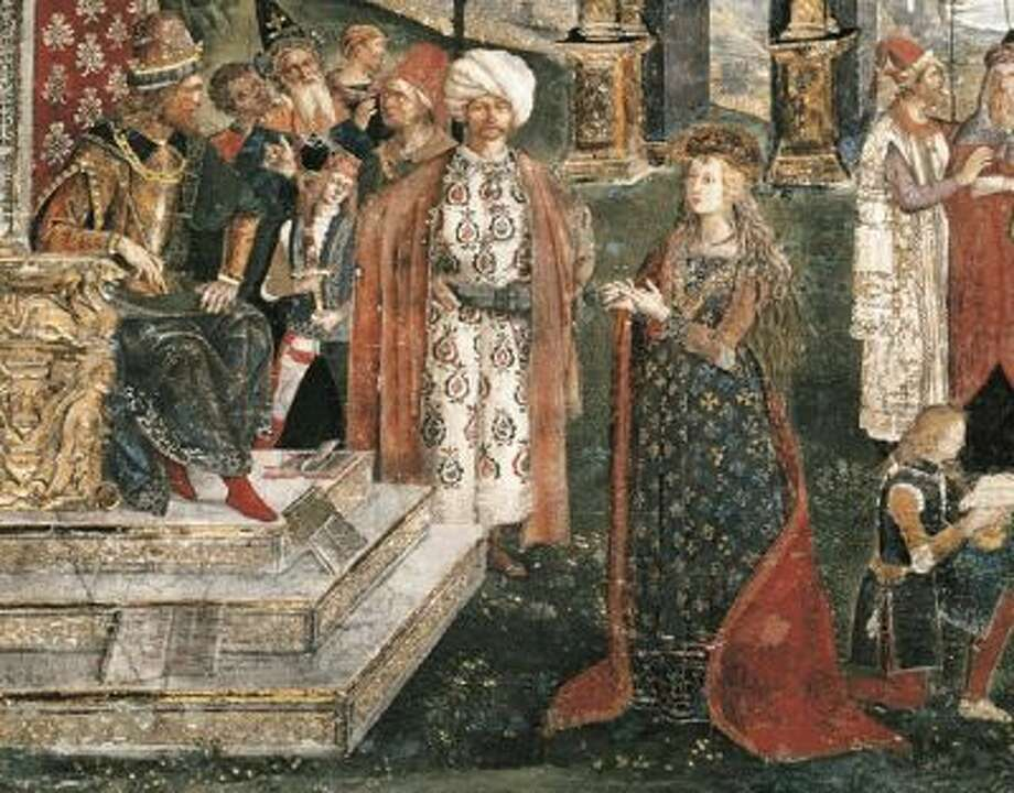 """St Catherine's Disputation,"" representing Lucrezia Borgia, by Bernardino di Betto, called Il Pinturicchio. Borgia was an alleged poisoner though historians believe she may have been innocent."