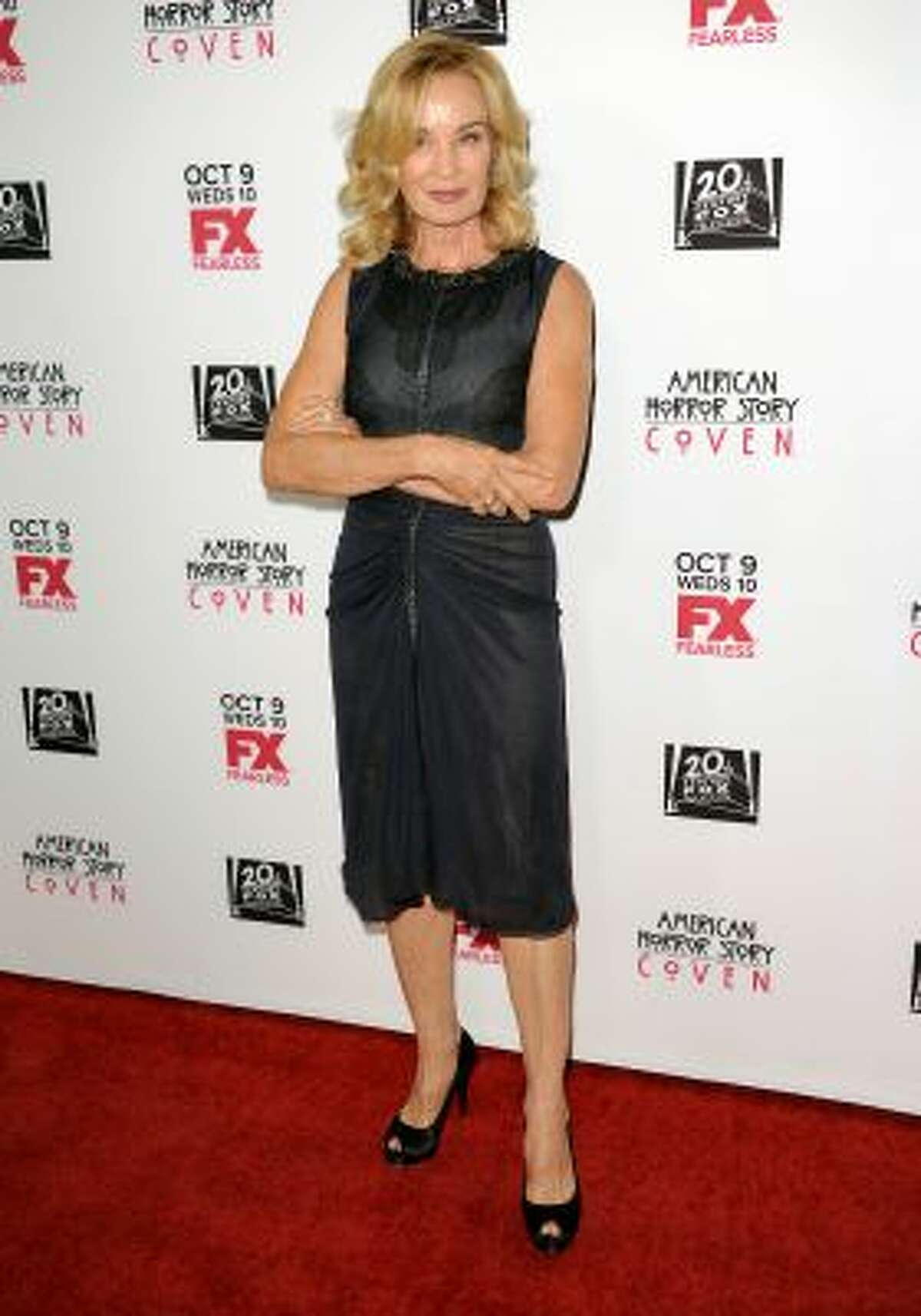 """Jessica Lange arrives at the premiere screening of """"American Horror Story: Coven"""" at the Pacific Design Center on Saturday, Oct. 5, 2013 in West Hollywood, Calif."""