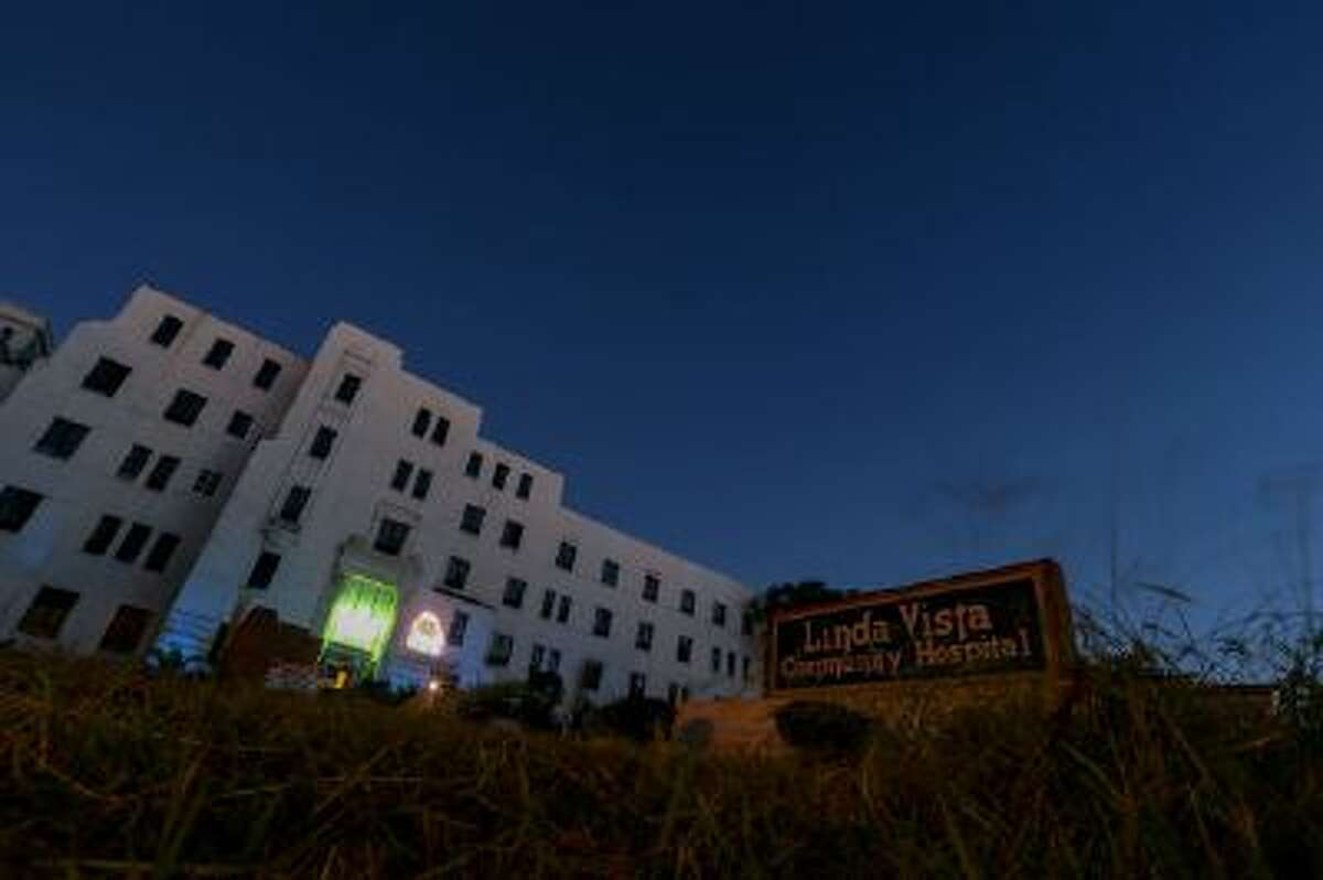 """A general view of the exterior of Linda Vista Hospital is seen during the """"American Horror Story: Asylum"""" sleepover, on Monday, Oct. 7, 2013, in Los Angeles."""