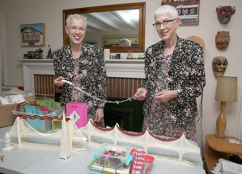 Author Susan Hunt Yule (left) and book artist Dorothy Yule are twins and co-hosts of the upcoming Miniature Book Conclave in Oakland. Photo: Liz Hafalia, The Chronicle