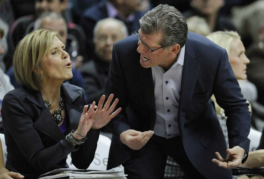 UConn associate head coach Chris Dailey and head coach Geno Auriemma have been together for 11 national titles. Photo: Jessica Hill / Associated Press / AP2016