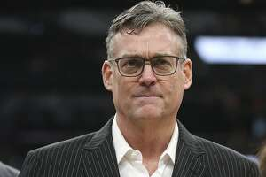 San Antonio Spurs General Manager R.C. Buford is presented with the National Basketball Association executive of the year award before game five in the Western Conference semi finals against the Oklahoma City Thunder at the AT&T Center, Tuesday, May 10, 2016.