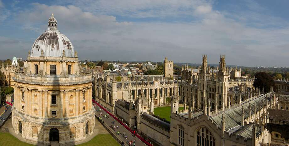 Oxford viewed from the church of St Mary the Virgin. The Radcliffe camera is in the left and All Souls College is on the right. Photo: Jonathan McManus, Moment Editorial/Getty Images