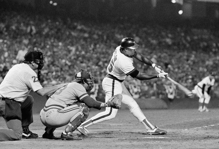 FILE - In this Oct. 5, 1982, file photo, California Angels' Don Baylor swings away during the sixth inning in Game 1 of the American League Championship Series against the Milwaukee Brewers, in Anaheim, Calif. Don Baylor, the 1979 AL MVP with the California Angels who went on to become manager of the year with the Colorado Rockies in 1995, has died. He was 68. Baylor died Monday, Aug. 7, 2017, at a hospital in Austin, Texas, his son, Don Baylor Jr., told the Austin American-Statesman. (AP Photo/File) ORG XMIT: NY161 Photo: Anonymous / AP1982