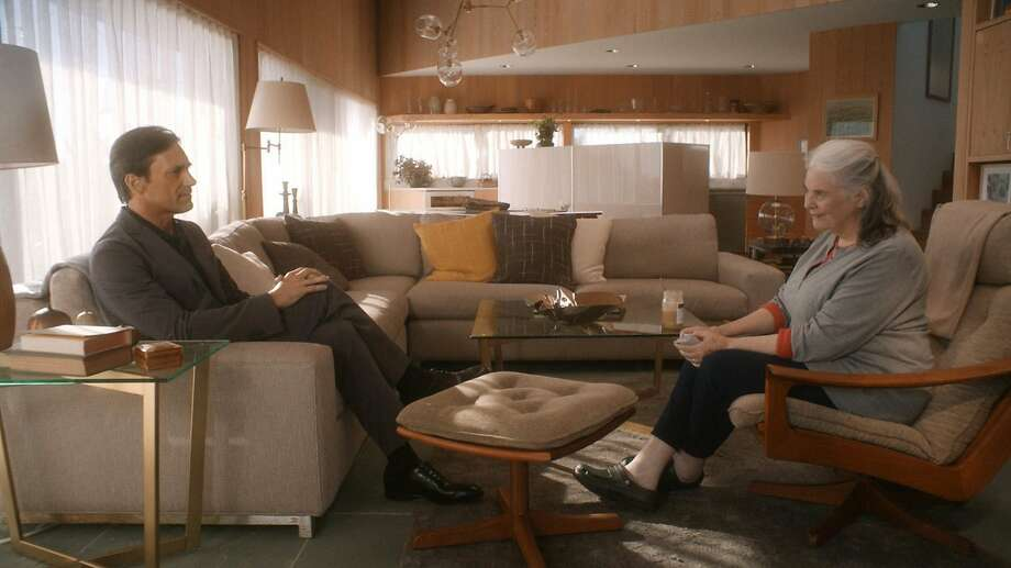 """Marjorie (Lois Smith) and a holographic image of her husband Walter (Jon Hamm) in Michael Almereyda's """"Marjorie Prime."""" Photo: FilmRise"""