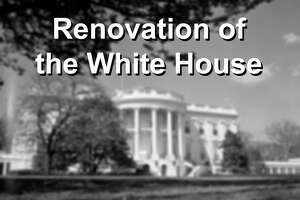 (Original Caption) This is the first exterior view of the newly renovated White House that has been made since the Trumans moved back into the mansion recently. Shown is south lawn.