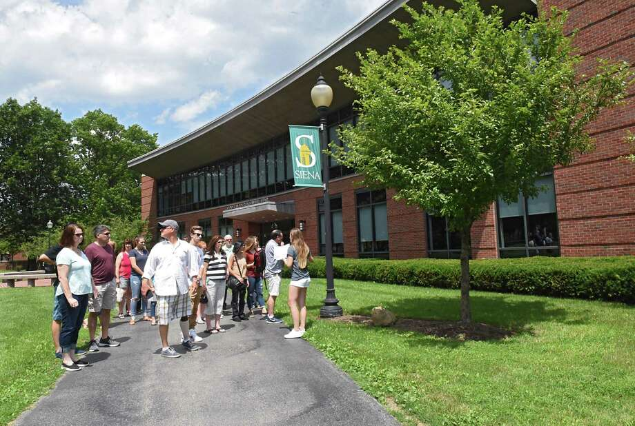Students and parents get a tour of Siena College on Monday, July 10, 2017 in Loudonville, N.Y. SCCC and Siena College will sign a transfer agreement allowing transfer credits for 31 degree programs at Siena. (Lori Van Buren / Times Union) Photo: Lori Van Buren / 40041006A