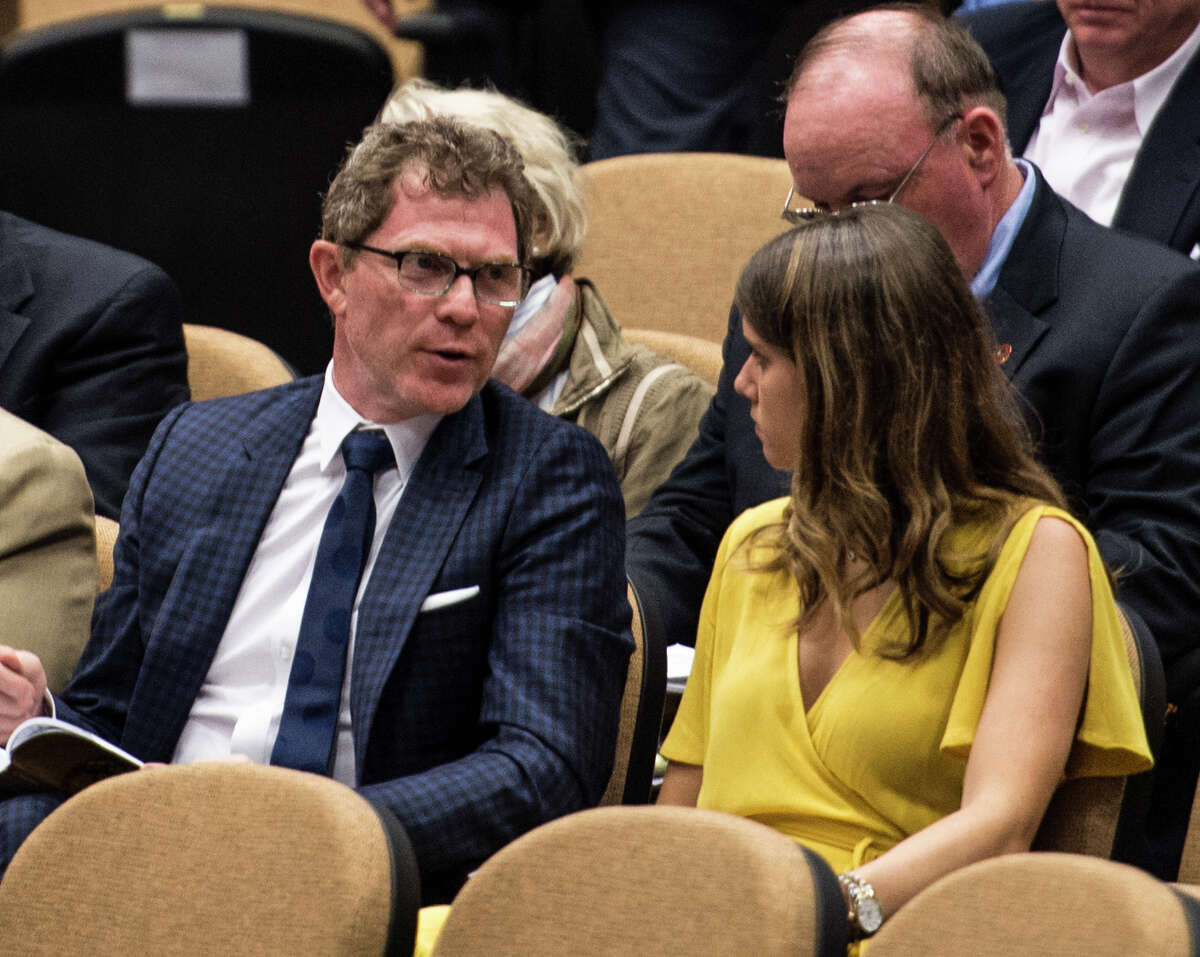TV chef Bobby Flay, left at the Fasig-Tipton Sales of select yearlings on the first of two nights Aug. 7, 2017 in Saratoga Springs, N.Y. (Skip Dickstein/Times Union)