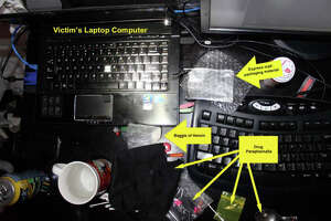 This law enforcement photo depicts the scene in Microsoft engineer Jordan Mettee's Bellevue apartment following his fatal heroin dose in August 2013.