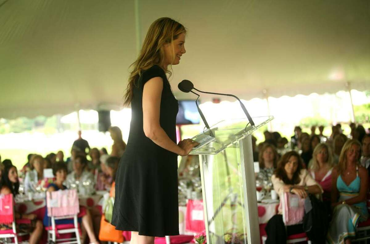 Actress Mira Sorvino delivers the keynote address during Wednesday's Rose of Hope luncheon at the home of Tom and Patti Keegan in the Greenfield Hill section of Fairfield.