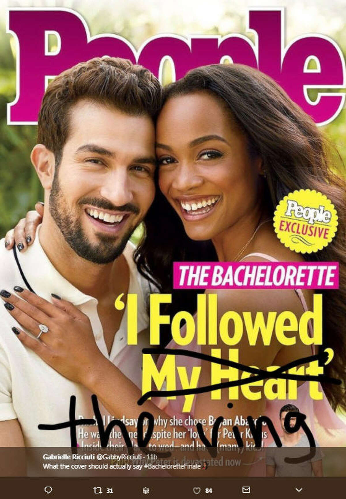 """""""What the cover should actually say #BacheloretteFinale"""" Source: Twitter"""