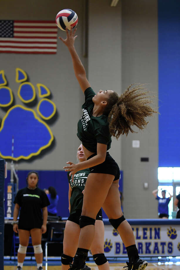 Spring High School junior middle blocker Indyah Rideaux skies for a kill against Mayde Creek during a scrimmage at Klein High School on August 5, 2017. (Photo by Jerry Baker/Freelance) Photo: Jerry Baker, Freelance / Freelance