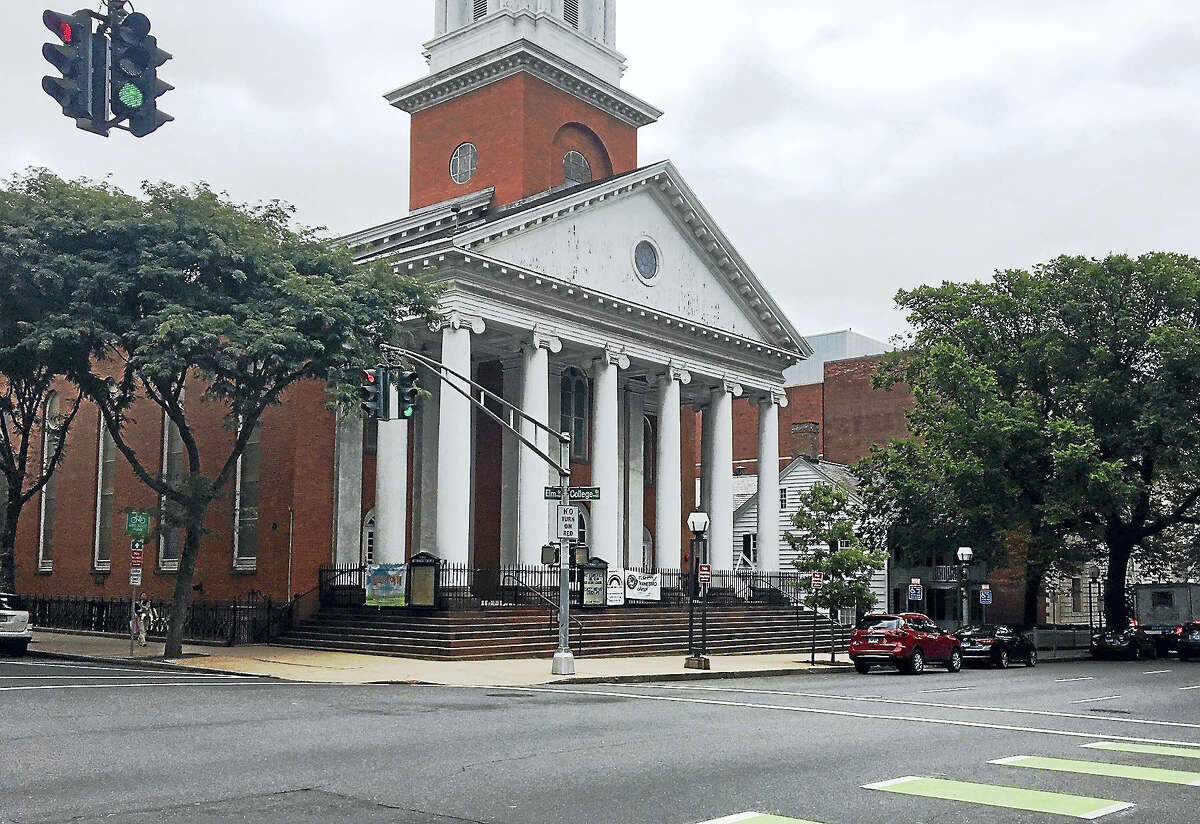 First and Summerfield United Methodist Church at the corner of Elm and College streets in New Haven.