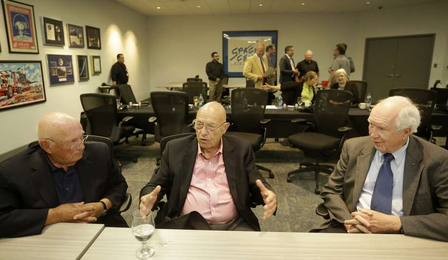 """Voyager scientists Frank Locatell, designer, left, John Casani, project manager, center, and Don Gurnett, principal investigator plasma wave scientist, right, talk at Space Center Houston before a screening of """"The Farthest,"""" in which they're featured."""