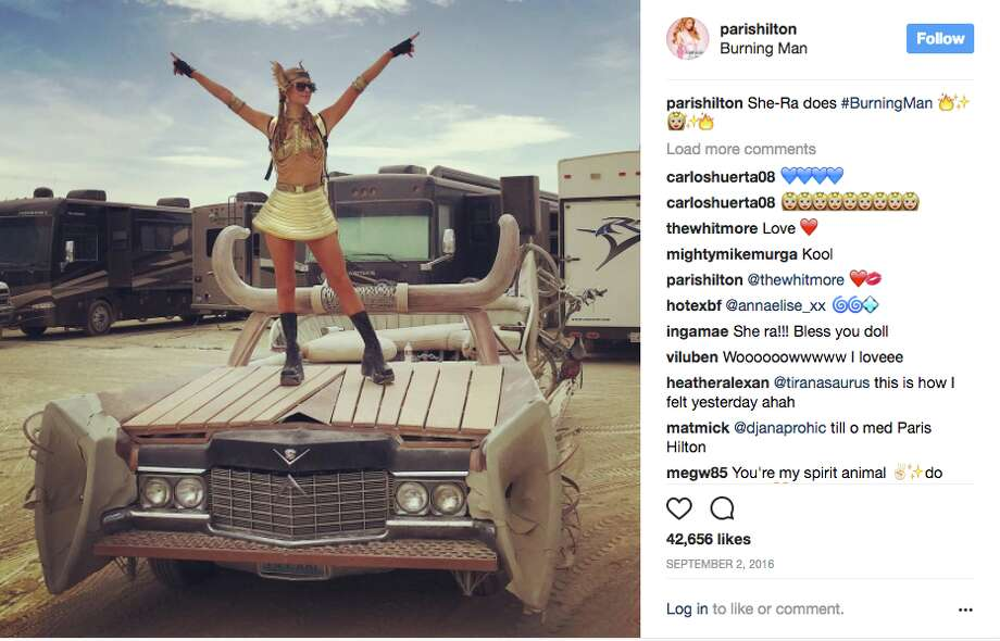 Socialite Paris Hilton made her first trip to Burning Man in 2016, and she documented the hell out of the experience. Behind her, you can see the luxury RV rentals that some wealthy attendees utilize instead of traditional hand-built camps. Photo: Screenshot Via Instagram