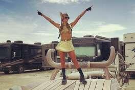Celebrities attend Burning Man in the Black Rock Desert, Nevada.