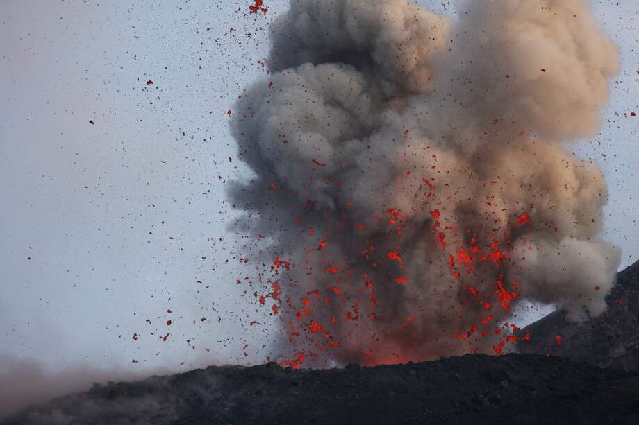 Lava bombs: What goes up must come down … and at about the same temperature as when it went up. Photo: Eruption from Anak Krakatau with high density of lava bombs on May 23, 2008 in Sumatra, Indonesia.  Photo: Barcroft/Barcroft Media Via Getty Images
