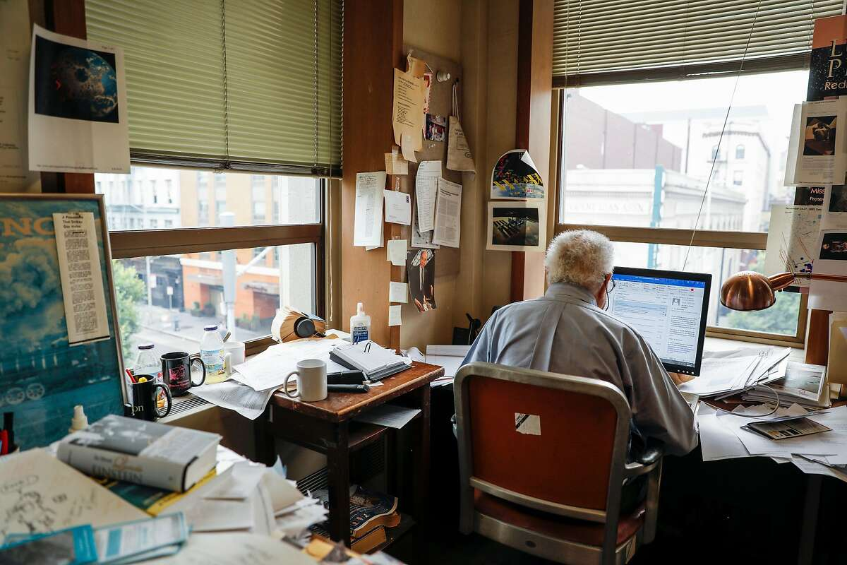San Francisco Chronicle science editor David Perlman is seen on his last day as a full time employee at the Chronicle on Friday, Aug. 4, 2017 in San Francisco, Calif. Perlman retires after 77 years at the paper at the age of 98.