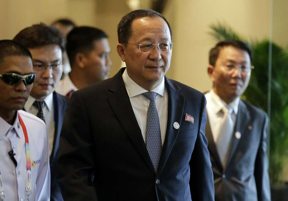 "North Korea Foreign Minister Ri Yong-ho departs his hotel to attend the 50th Grand Celebration and closing ceremony of the ASEAN Foreign Ministers' Meeting and its dialogue partners in Manila, Philippines Tuesday, Aug. 8, 2017.  North Korean Foreign Minister Ri Yong Ho on Wednesday, Sept. 20, 2017 in New York described as ""the sound of a dog barking"" Trump's threat to destroy his country. Photo: Aaron Favila, Associated Press"