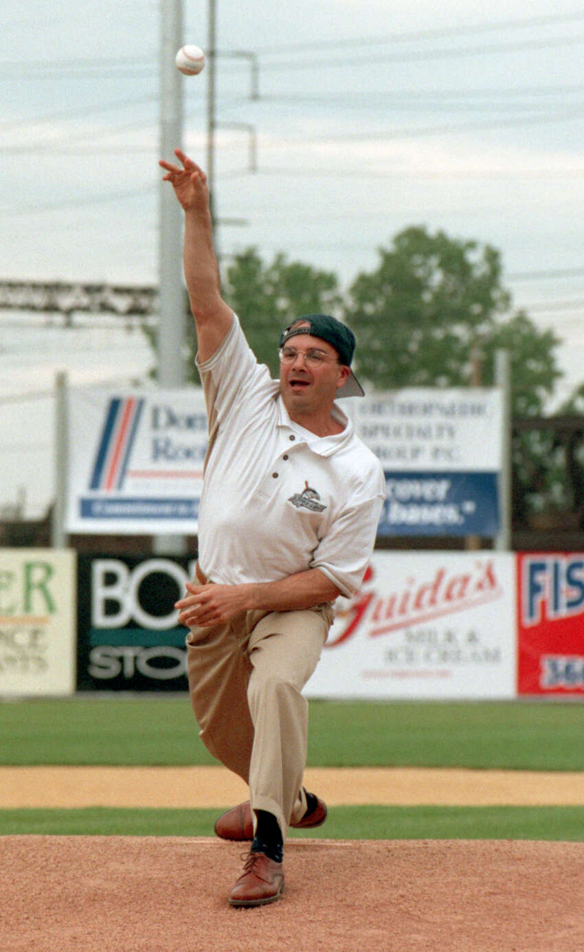 May 1998 Bridgeport Mayor Joe Ganim threw out the first pitch on the opening day of Bridgeport Bluefish baseball in May 1998 at the Ballpark.