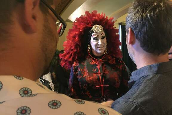"""Sister Roma at """"Stilettos for Shanghai for Chechnya"""" at the Castro Theatre."""