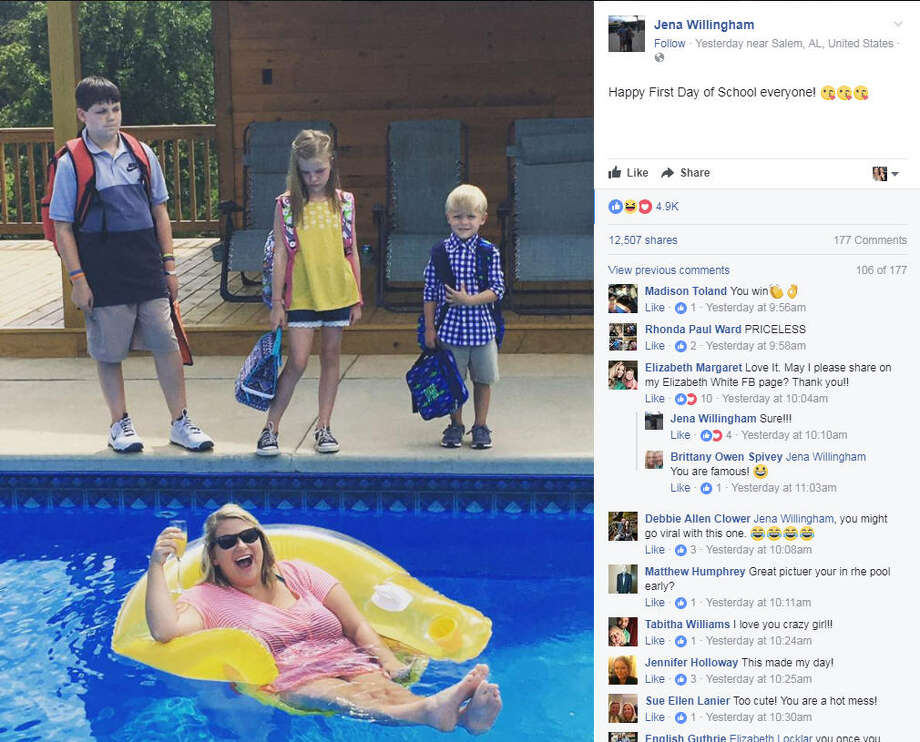 Alabama mom, Jena Willingham has gone viral after sharing this photo to Facebook that perfectly captures the first-day-of school for both students and parents. >>See more hilarious back to school memes.Photo: Jena Willingham Facebook