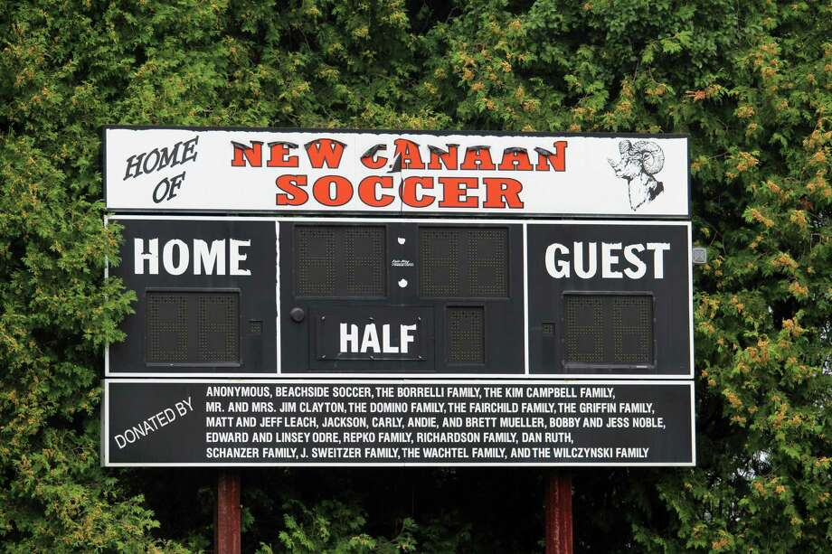 The Conner Field scoreboard in New Canaan, Conn., on Aug. 8, 2017. Photo: Justin Papp / Hearst Connecticut Media / New Canaan News