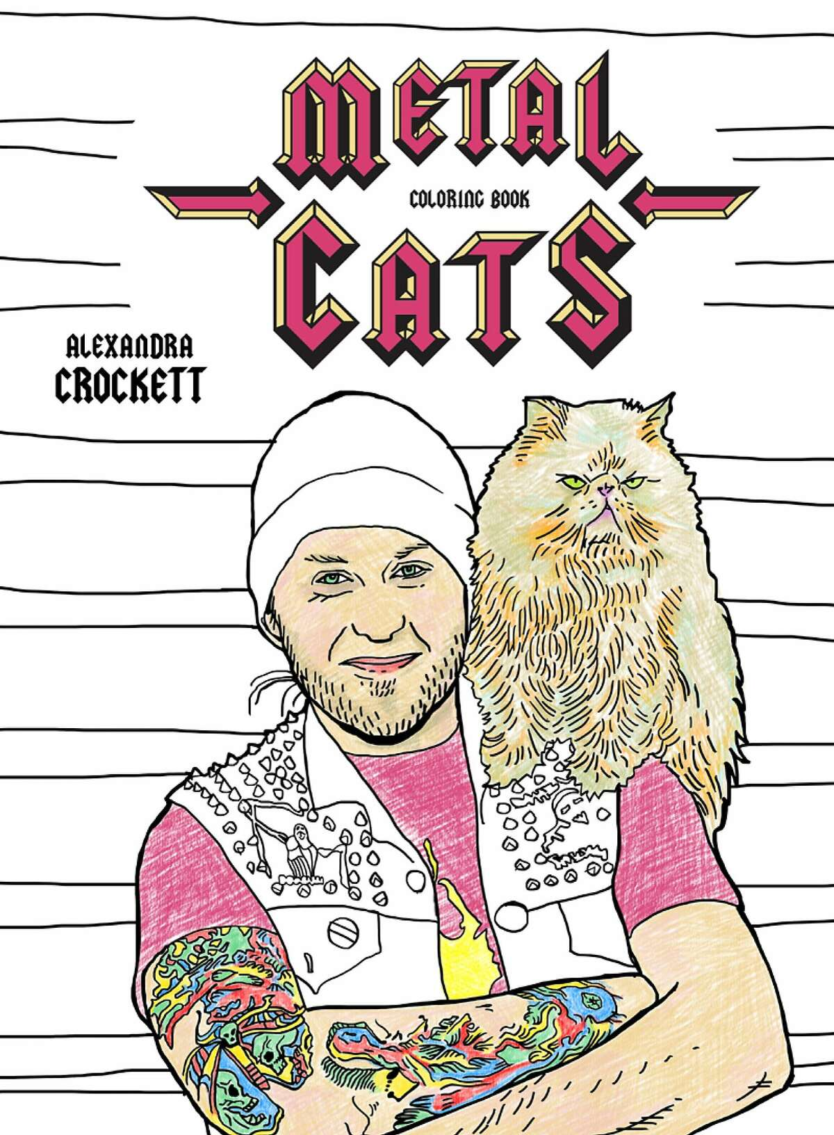 �Metal Cats Coloring Book,� (Powerhouse Books, 2017, $9.99), which capitalizes on the adult coloring book trend, is based a book of the same title, �Metal Cats,� (Powerhouse Books, 2014) � a series of photo portraits by Alexandra Crockett of 30 West Coast heavy metal musicians and their cats. The book was meant to show the softer, human side of heavy metal musicians as they posed with their pets, and to bring attention to no-kill animal shelters. Illustrations for the coloring book are by Chuck Gonzales.