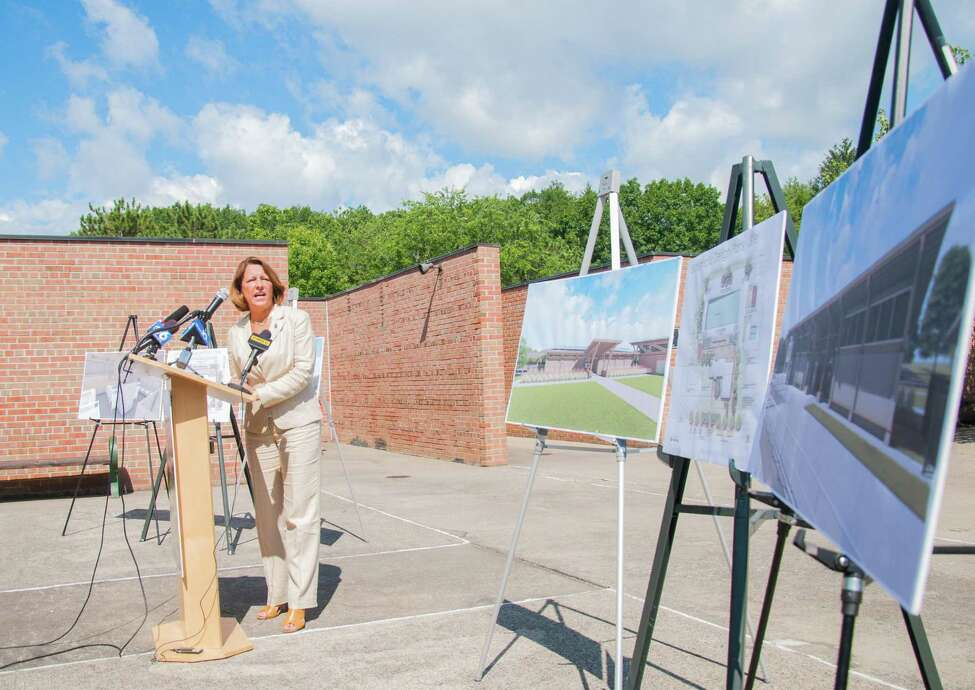 Saratoga Mayor Joanne Yepsen speaks at a press conference, Tuesday, Aug. 8, to discuss the Peerless Pool Complex in Saratoga Spa State Park. The Peerless Pool is due to close for renovations on Tuesday, Aug. 15, as part of Governor Cuomo's multimillion dollar Parks 2020 initiative. (Jenn March/Special to the Times Union)