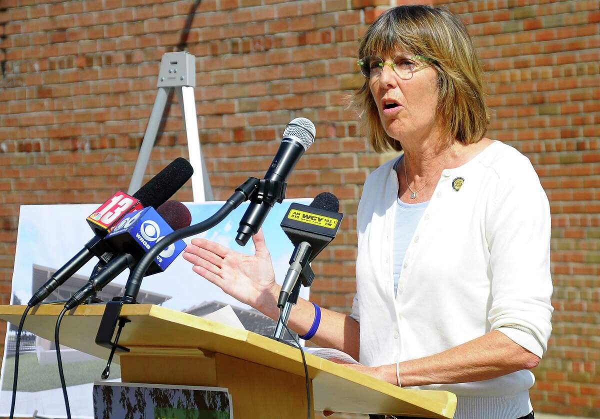 FILE - Commissioner Rose Harvey speaks at a press conference in August 2017. (Jenn March/Special to the Times Union)