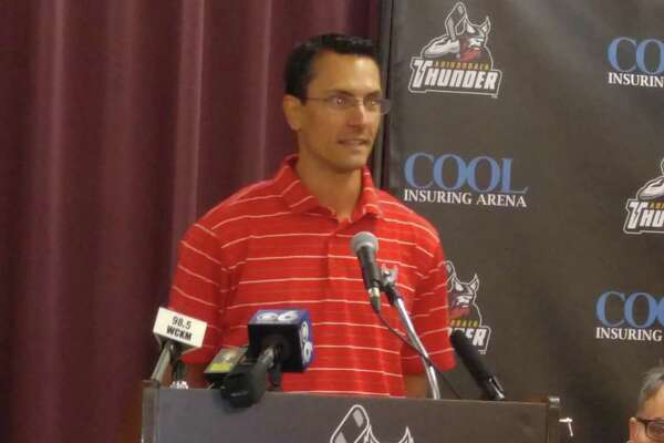 Brad Tapper, former RPI hockey player, is introduced as head coach of the ECHL Adirondack Thunder at a news conference Tuesday, Aug. 8, 2017, at Heritage Hall in the Cool Insuring Arena (formerly Glens Falls Civic Center). (Pete Dougherty/Times Union)